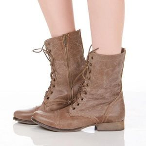 Steve Madden Troopa Leather Combat Boots Tan
